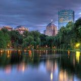 波士顿在s方形日落的copley hdr 免版税库存图片
