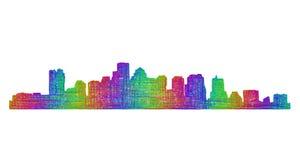 波士顿地平线剪影-多色线艺术 免版税图库摄影