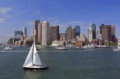 波士顿地平线和港口,美国 免版税图库摄影