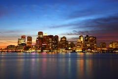 波士顿地平线在晚上,马萨诸塞,美国 免版税库存照片
