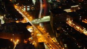 波士顿地平线的空中timelapse在与徒升的晚上 影视素材