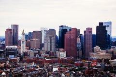 波士顿地平线的Arial视图与摩天大楼的 免版税图库摄影