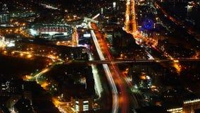 波士顿市中心的空中timelapse在与徒升的晚上 股票视频