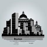 波士顿市剪影 免版税库存图片