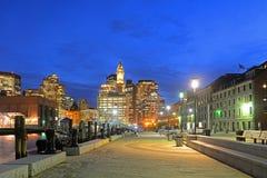 波士顿海关在晚上,美国 库存照片