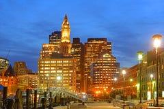 波士顿海关在晚上,美国 库存图片