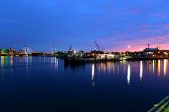 波士顿港口在晚上,美国 免版税图库摄影
