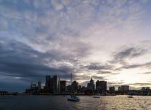 波士顿港口看法和街市在黄昏 免版税图库摄影