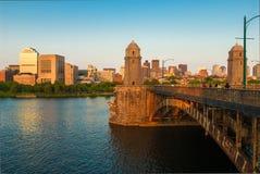 波士顿的Longfellow桥梁 库存照片