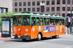 波士顿老浏览城镇台车 免版税库存照片
