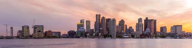波士顿街市地平线全景 库存图片