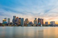波士顿街市地平线全景 库存照片