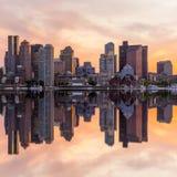 波士顿街市地平线全景 免版税库存图片