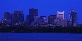 波士顿街市黄昏 图库摄影