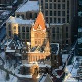 波士顿领港教会在冬天,美国 免版税库存图片