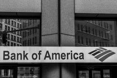 波士顿马萨诸塞美国06 09 2017年美国银行商标美国多民族银行业务金融服务公司 免版税库存图片