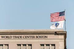 波士顿,美国05 09 2017年海口位于江边联邦码头的世界贸易中心大厦南波士顿 免版税库存照片