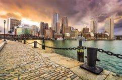 波士顿,马萨诸塞地平线 图库摄影