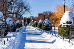 波士顿,马萨诸塞- 2014年1月04日:波士顿公园和乔治・华盛顿雕象 免版税图库摄影
