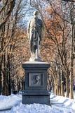 波士顿,马萨诸塞- 2014年1月04日:波士顿公园和雕象 托马斯李礼物  库存照片