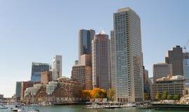 波士顿,麻省- 2015年10月17日:美好的空中城市视图 Bosto 库存照片