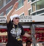波士顿,麻省,美国- 6月18日:布莱德马尔尚庆祝史丹利杯胜利在波士顿熊在夺得杯以后游行为 免版税库存图片