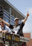 波士顿,麻省,美国- 6月18日:帕特里斯伯杰龙庆祝史丹利杯胜利在波士顿熊在夺得杯以后游行f 免版税图库摄影