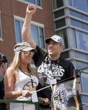 波士顿,麻省,美国- 6月18日:米兰Lucic庆祝史丹利杯胜利在波士顿熊在夺得Th的杯以后游行 库存照片