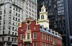 波士顿,麻省:历史1713老状态议院 库存照片