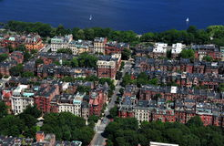 波士顿,麻省:后面海湾区的看法 免版税库存照片