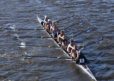 波士顿- 2016年10月23日:一束大学在查尔斯赛船会妇女的大学Eights头赛跑  免版税库存照片