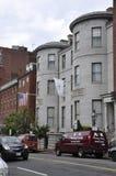 波士顿Ma, 6月30日:从波士顿的历史建筑街市在Massachusettes国家的美国 免版税图库摄影