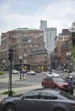 波士顿Ma, 6月30日:从波士顿的历史建筑街市在Massachusettes国家的美国 免版税库存照片