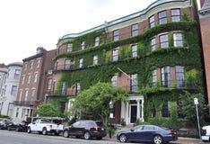 波士顿Ma, 6月30日:从波士顿的历史建筑街市在Massachusettes国家的美国 图库摄影