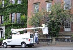 波士顿Ma, 6月30日:在Massachusettes国家的波士顿街市供气街道闪电卡车的美国 免版税图库摄影