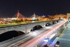 波士顿Zakim邦克山桥梁,美国 免版税图库摄影