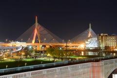 波士顿Zakim邦克山桥梁,美国 免版税库存照片