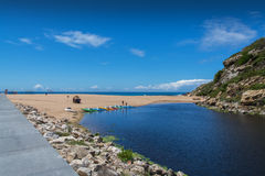 波多诺伏海滩在Lourinha,葡萄牙 库存照片