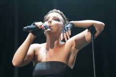 波多黎各拉丁歌手Chayanne打手势活在阶段 库存照片