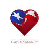 波多黎各旗子在心脏 我爱我的国家 标志 向量 库存例证