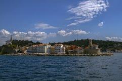 波尔图卢兹斯洛文尼亚小游艇船坞一个小镇,位于Adriati 免版税库存图片