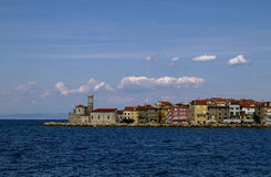 波尔图卢兹斯洛文尼亚小游艇船坞一个小镇,位于亚得里亚 免版税库存图片