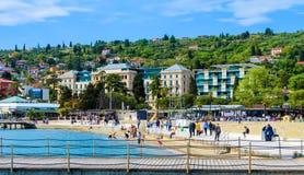 波尔图卢兹海滩和度假胜地,斯洛文尼亚 图库摄影