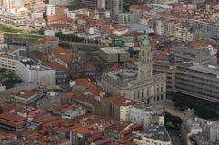 波尔图和trin的教会市政厅的鸟瞰图  库存图片