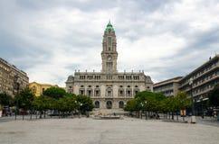 波尔图市霍尔或Camara自治都市做波尔图,波尔图,葡萄牙 免版税库存照片