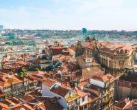 波尔图葡萄牙看法通过宽透镜 免版税图库摄影