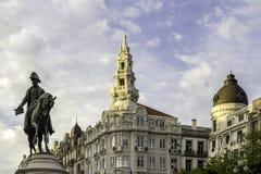 波尔图,葡萄牙- 2015年7月04日:佩德罗IV国王雕象波尔图 图库摄影