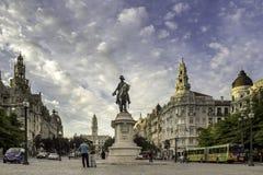 波尔图,葡萄牙- 2015年7月04日:Liberdade广场在波尔图 库存照片