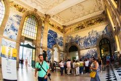 波尔图,葡萄牙- 2016年8月08日:São Bento火车站波尔图,葡萄牙 免版税库存照片