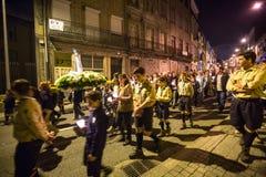 波尔图,葡萄牙-以纪念我们的法蒂玛的夫人的队伍 库存图片